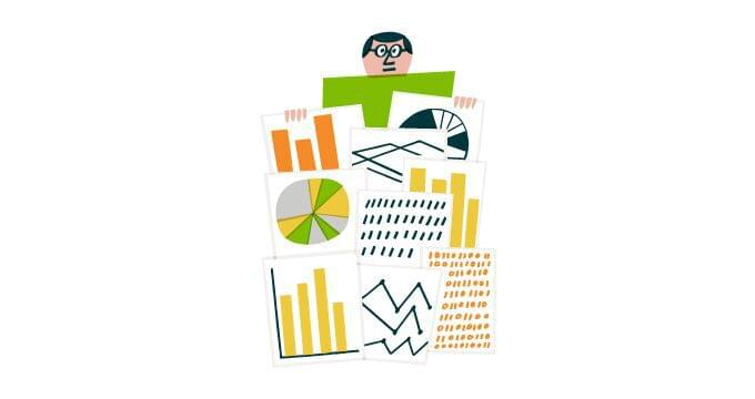 Illustration showing man sitting atop a pile of charts and graphs