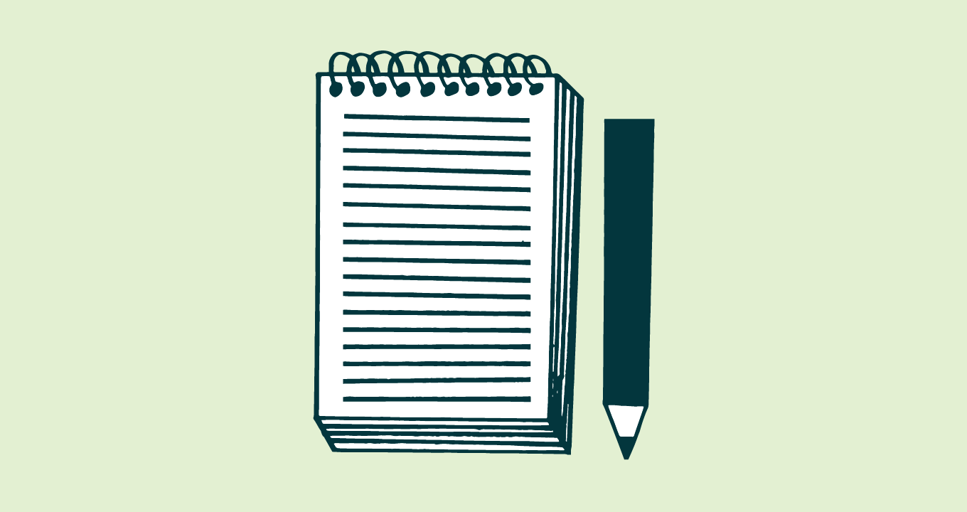 Illustration of a spiral notebook with a pencil