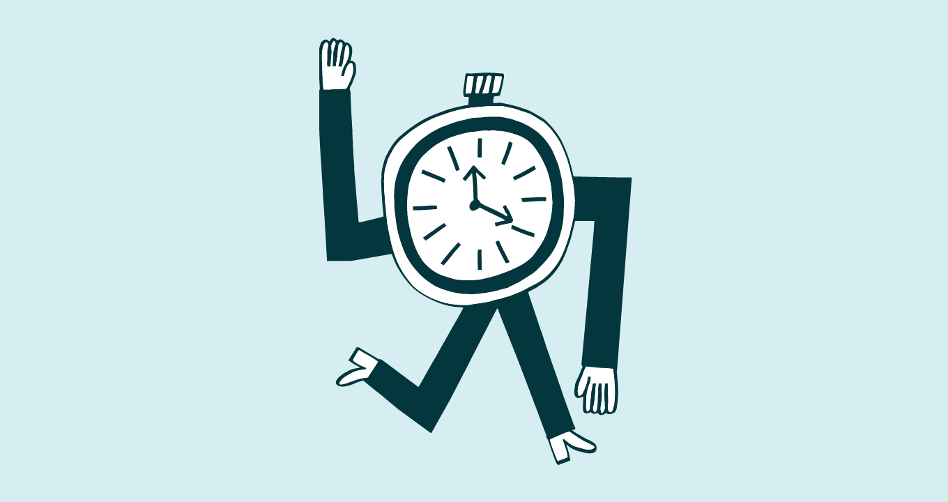 Illustration of a stopwatch with arms and legs