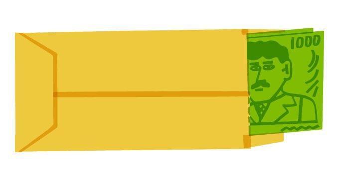 Dollar bills inside an envelope