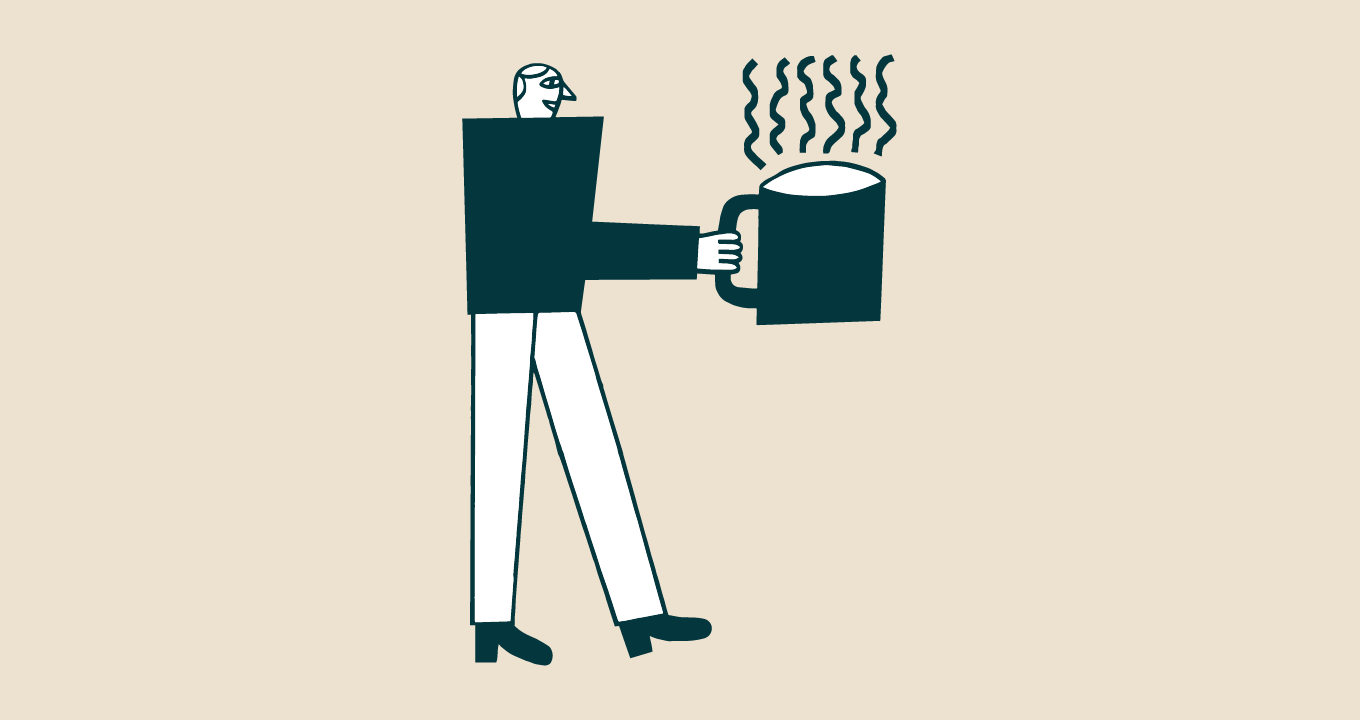Illustration of a person standing holding a coffee cup with steam coming off.