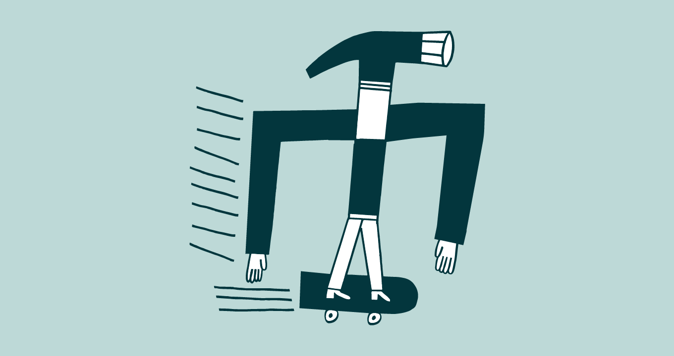 Illustration of a hammer riding a skateboard